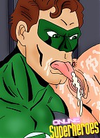Green Lantern licking catwoman's wet pussy