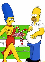 Marge knows that nothing turns on Homer as bad as food, so she gets some candy and donuts to turn him on