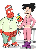 Amy sneaks into Doc Zoidberg's lab and discovers him conducting some naughty sex experiments. His crustacean cock turns the sexy asian girl on