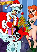 Harley sucking Jocker's dick for x-mas presents