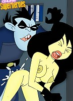 Kim Possible in ropes forced to lick Shego's cunt
